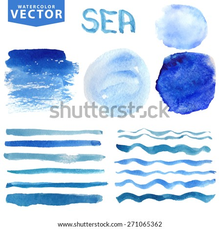 Watercolor hand painting textures stains,spot,wavy brush set.Summer blue,cyan,color.Bright  watercolor design element.Vintage blur vector,summer background.Holiday,vacation artistic sea wave,water,sky - stock vector