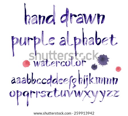 Watercolor hand written purple alphabet, calligraphy, vector watercolor. - stock vector
