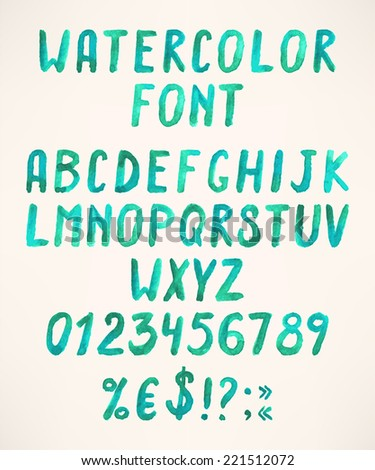 Watercolor handwritten green alphabet letters with numbers and symbols - stock vector