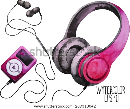 Watercolor headphones and mp3 player - stock vector