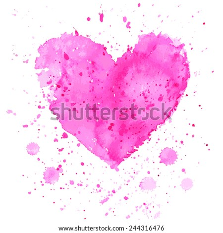 Watercolor heart on white background. Vector illustration for invitation or greeting card - stock vector