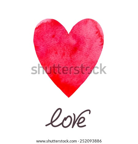 Watercolor heart Vector - stock vector