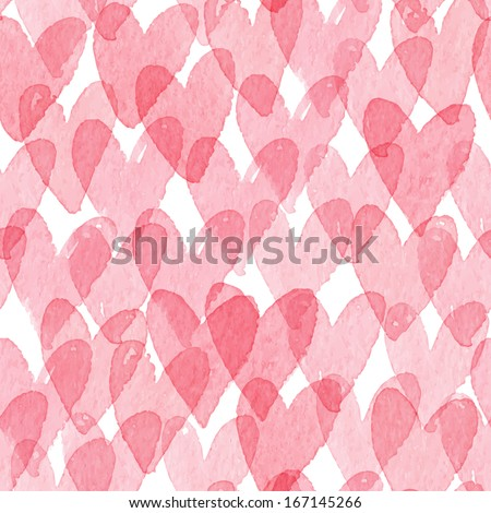 Watercolor hearts seamless pattern. Vector illustration - stock vector