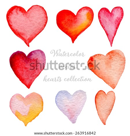 Watercolor hearts set hand drawn, isolated on white background, vector eps10 - stock vector