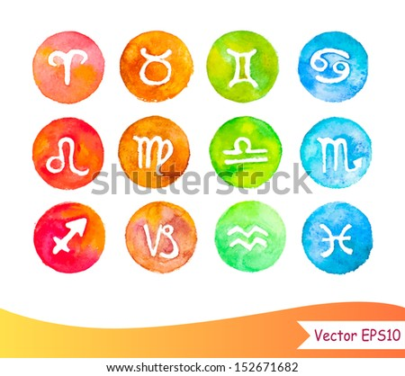 Watercolor horoscope signs - stock vector