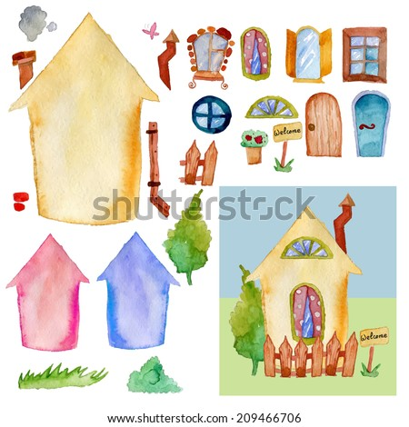 Watercolor House constructor set of elements in vector. With sample illustration - stock vector