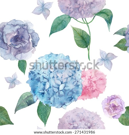 Watercolor hydrangea and lisianthus pattern. Vector hand drawn seamless texture with various flowers and leaves on white background. Botany repeating wallpaper - stock vector