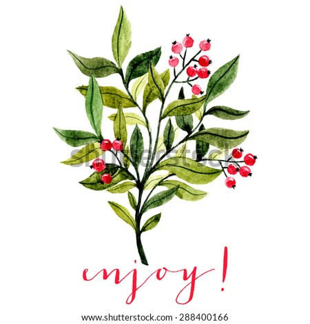 watercolor illustration of branch with leaves and red berries. botanical watercolor illustration. can be used for greeting cards, wedding invitations etc - stock vector