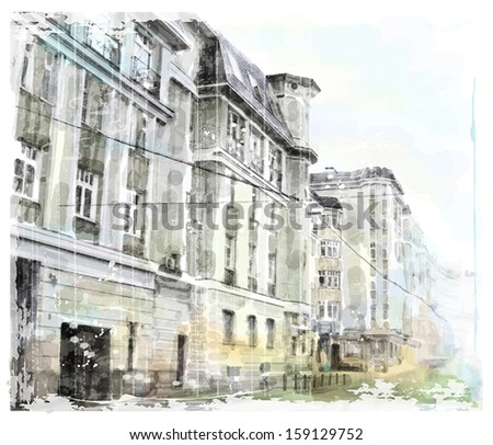 watercolor illustration of city scape - stock vector