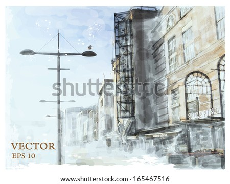 watercolor illustration of city scape.  - stock vector