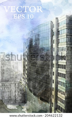 watercolor illustration of  modern city space - stock vector