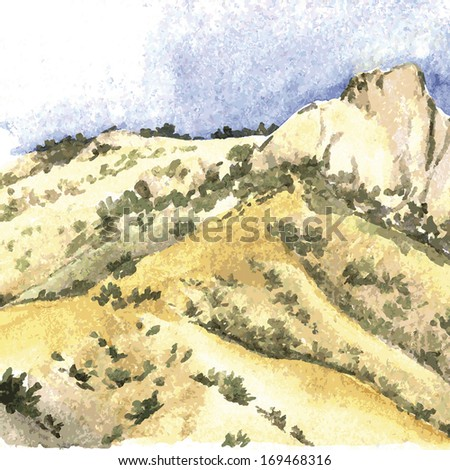Watercolor illustration of mountains. Vector illustration.  - stock vector