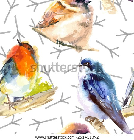 watercolor illustration with bird robin  swallow  and sparrow - stock vector