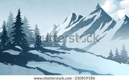 Watercolor imitation illustration. Winter mountains landscape, trees, sky. - stock vector