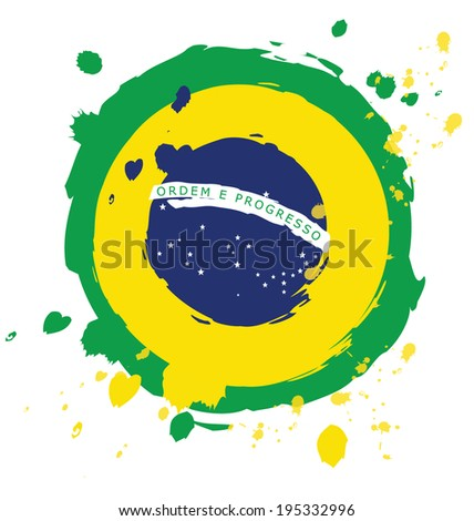 Watercolor in Brazil flag concept - stock vector