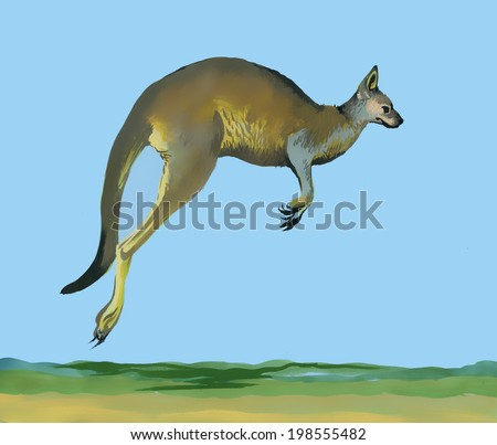 Watercolor kangaroo on blue background vector - stock vector