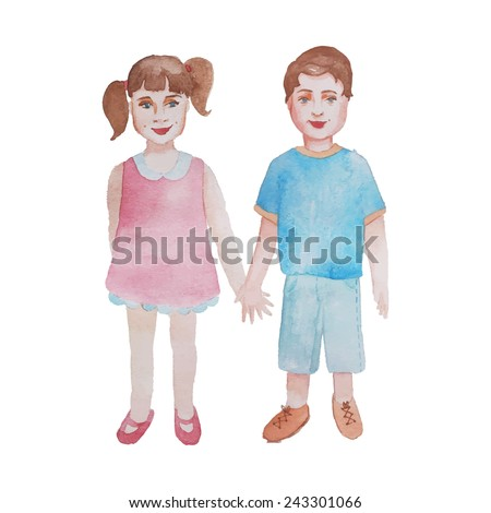 Watercolor kids holding hands. Isolated hand drawn vintage boy and girl. Vector illustration - stock vector