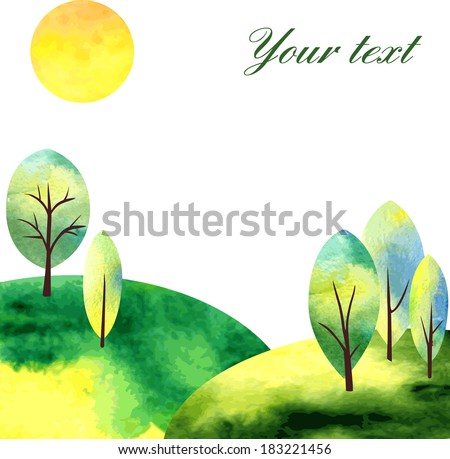 watercolor landscape with  trees and sun, vector illustration - stock vector