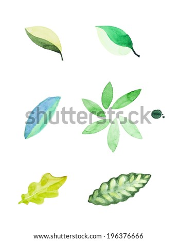 watercolor leaves vector edition - stock vector