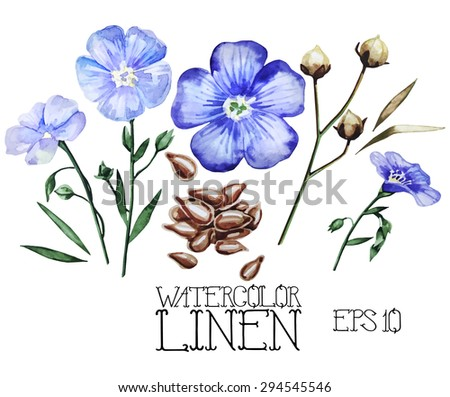 Watercolor linen set. Vector design elements isolated on white background - stock vector