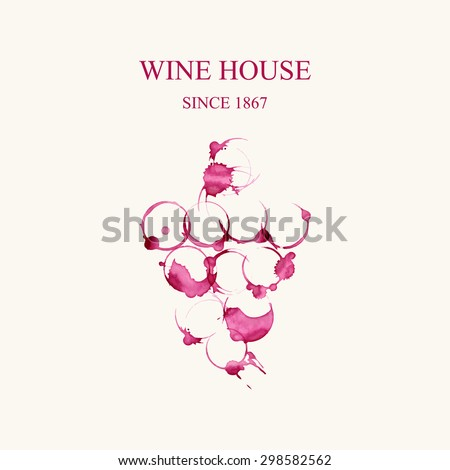 Watercolor logo for wine house in forme of grape vines make from wine stains isolated on light beige background. Vector illustration EPS10. - stock vector
