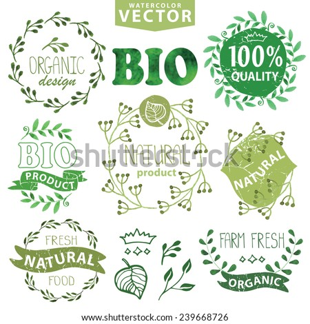 Watercolor logo set.Badges,labels,green branches,floral elements,wreaths ,leaves,laurels.Organic,bio,eco,natural design,ecology design template,logotypes.Hand drawing painting texture.Vintage vector - stock vector