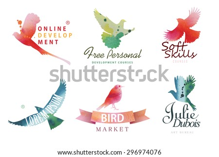 Watercolor logo templates. Colorful birds silhouettes in watercolor technique. Vector illustration. - stock vector