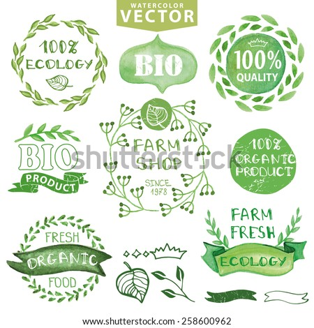 Watercolor logotypes set.Badges, labels,green branches,leaves,ribbons,plants elements,wreaths ,laurels.Organic,bio,ecology,eco natural design template.Hand drawing painting.Vintage vector,green colors - stock vector