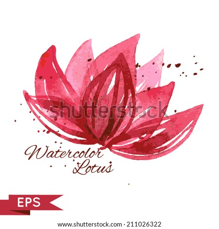 Watercolor lotus illustration isolated on white. - stock vector
