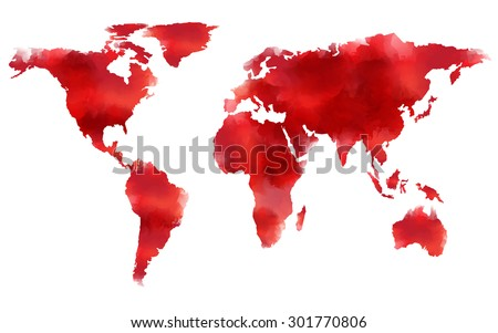 watercolor map in red tone, Elements of this image furnished by NASA - stock vector