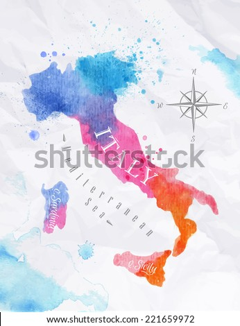 Watercolor map of Italy in vector format in pink and blue colors on a background of crumpled paper - stock vector