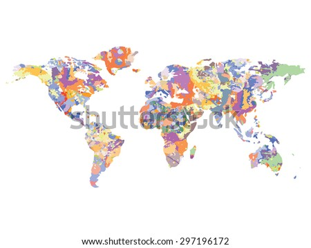 Watercolor map of the world vector illustration - stock vector