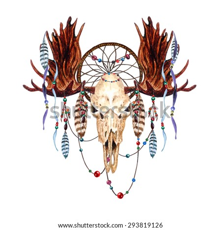 watercolor moose skull feathers dreamcatcher beaded stock vector 292788788 shutterstock. Black Bedroom Furniture Sets. Home Design Ideas