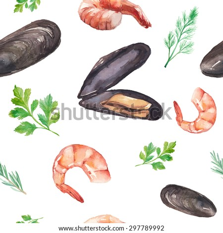 Watercolor mussels and shrimp seamless pattern. Hand drawn texture with mussel in shells, shrimps, parsley, thyme, dill on white background. Vector food and spices herbs wallpaper - stock vector