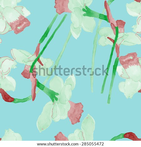 watercolor narcissus flower seamless pattern summer vector eps 8 - stock vector