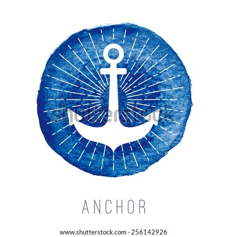 Watercolor nautical logo with an anchor - stock vector