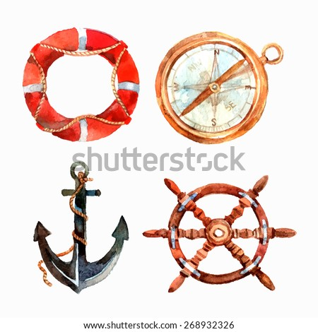 Watercolor nautical set with lifebuoy compass anchor steering wheel isolated vector illustration - stock vector