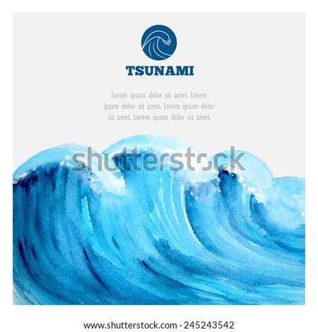Watercolor ocean tsunami waves. Big blue water. - stock vector