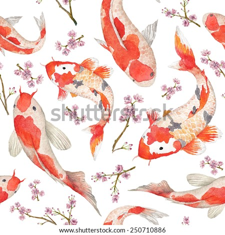 Watercolor oriental pattern with rainbow carps. Seamless oriental texture with isolated hand drawn fishes and blossom cherry. Asian natural background in vector - stock vector