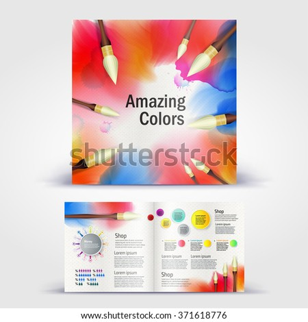 Watercolor paint with brushes brochure. Color application booklet template design for corporate identity with statistics and infographics. Cover layout and infographics. Business stationery. - stock vector