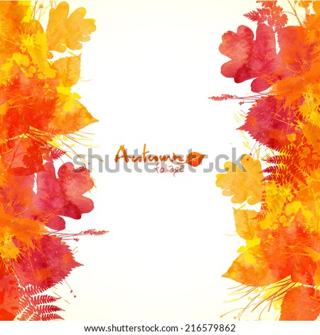 Watercolor painted autumn leaves vector background - stock vector