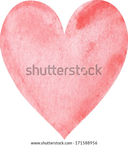 Watercolor painted heart - stock vector