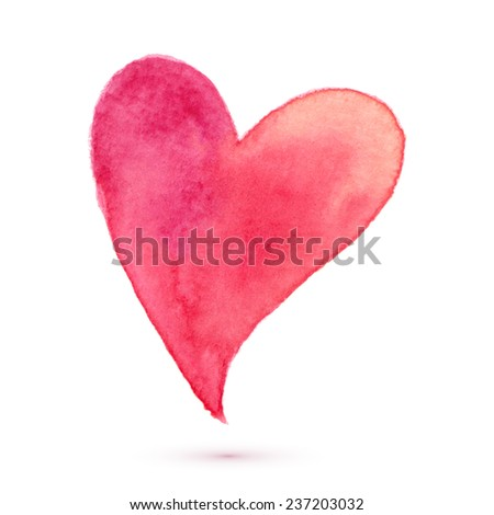 Watercolor painted heart, vector element for your design - stock vector
