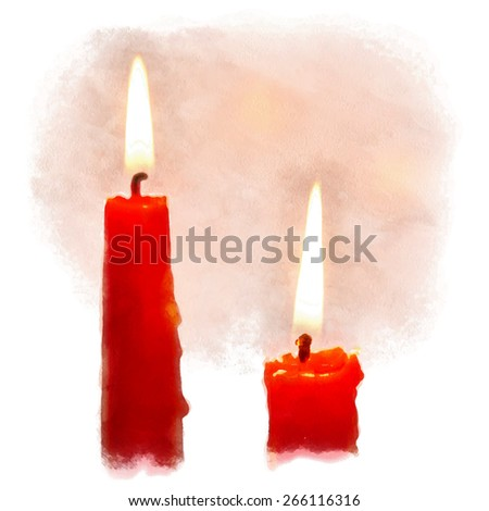 Watercolor painting, burning candles. Vector illustration. - stock vector