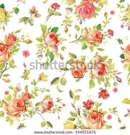 Watercolor painting seamless background with pink roses - stock vector