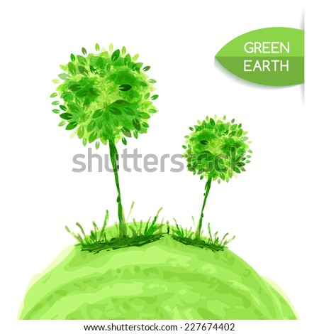 Watercolor painting, tree in grass. Vector illustration background. Nature organic, eco, green earth concept. - stock vector