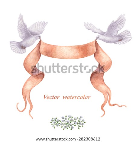 Watercolor pair of flying birds,  ribbon banner and bunch of flowers  isolated on white background. - stock vector