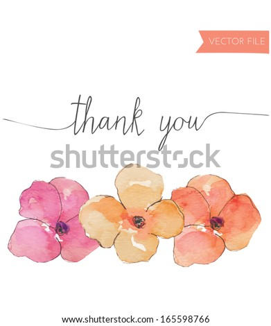 Watercolor Pansies Vector With Thank You Text - stock vector