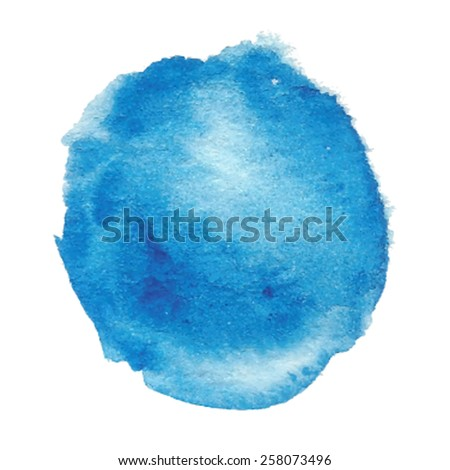 Watercolor paper texture blue hand drawn isolated drop on white background. Wet brush painted stain abstract vector illustration. Design art element for decor, scrapbook, banner, print, card, template - stock vector