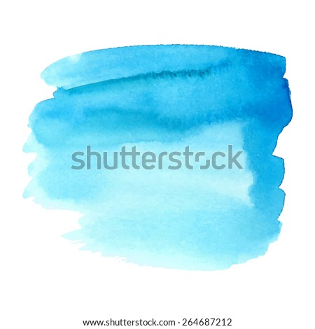 Watercolor paper texture blue hand drawn isolated spot on white background. Wet brush painted smudges and strokes abstract illustration. Water striped vector design stain for banner, print, template - stock vector